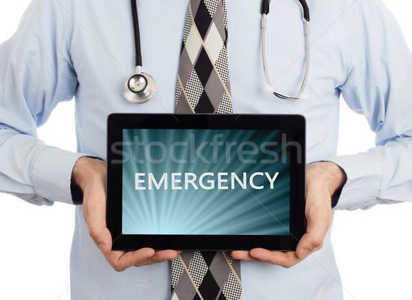 医師 タブレット 緊急 孤立した 白 ストックフォト © michaklootwijk