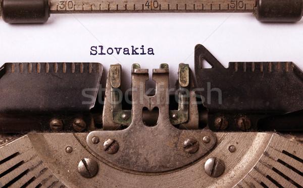 Oude schrijfmachine Slowakije opschrift vintage land Stockfoto © michaklootwijk