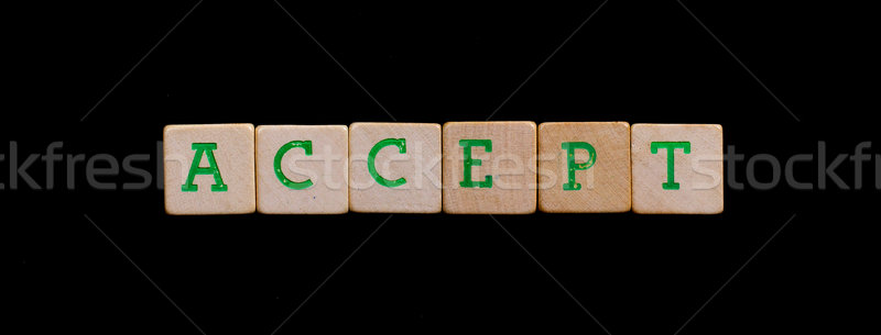 Letters on old wooden blocks (accept) Stock photo © michaklootwijk