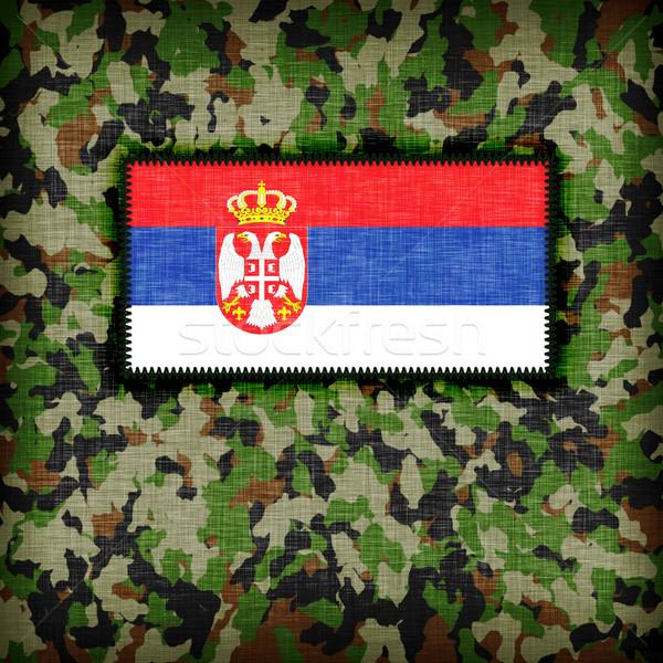 Kamuflaż uniform Serbia banderą tekstury streszczenie Zdjęcia stock © michaklootwijk