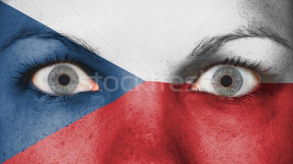 Ojos bandera pintado cara República Checa Foto stock © michaklootwijk