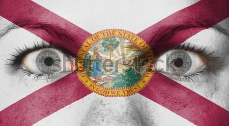 Gözler bayrak boyalı yüz Illinois Stok fotoğraf © michaklootwijk