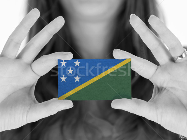 Stock fotó: Nő · mutat · névjegy · zászló · Salamon-szigetek · űr