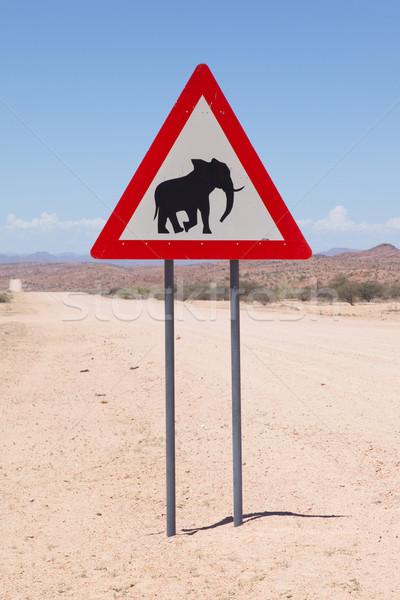 Voorzichtigheid olifanten verkeersbord permanente naast weg Stockfoto © michaklootwijk