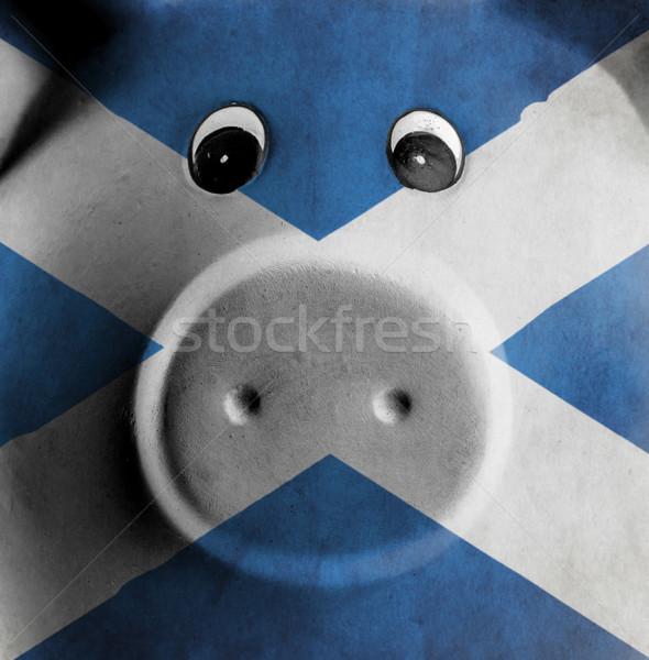 Stockfoto: Keramische · spaarvarken · schilderij · vlag · Schotland · geld