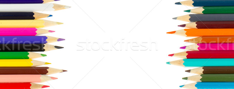 Photo stock: Crayons · isolé · blanche · école · travaux