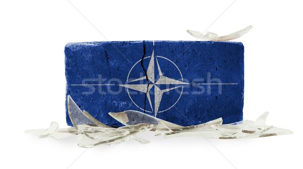 レンガ 割れたガラス 暴力 ガラス セキュリティ 戦争 ストックフォト © michaklootwijk