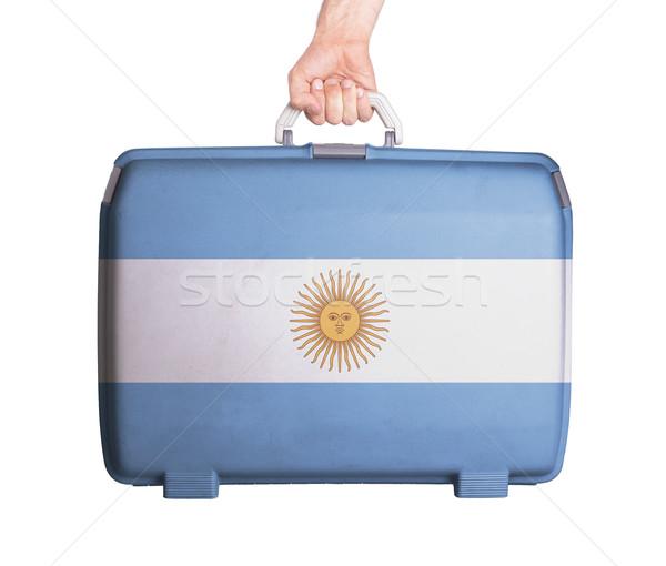 Használt műanyag bőrönd foltok nyomtatott zászló Stock fotó © michaklootwijk