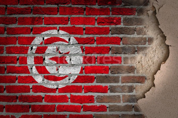 темно кирпичная стена штукатурка Тунис текстуры флаг Сток-фото © michaklootwijk