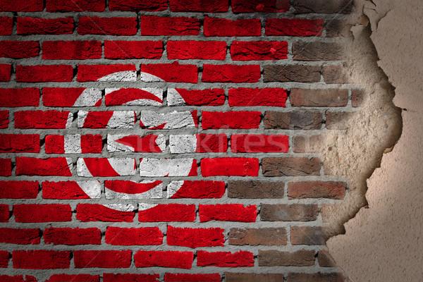 Dark brick wall with plaster - Tunisia Stock photo © michaklootwijk