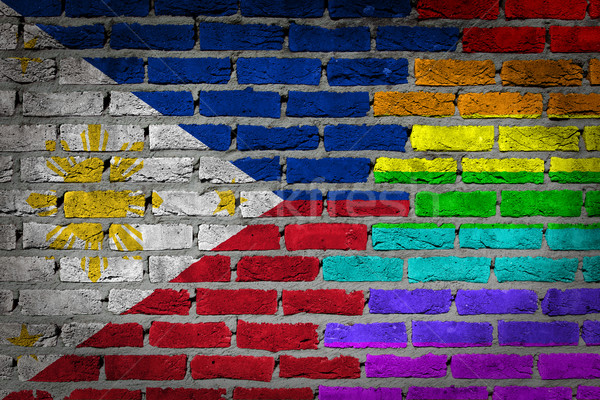 Dark brick wall - LGBT rights - Philippines Stock fotó © michaklootwijk