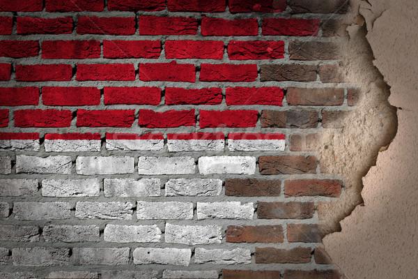 Sötét téglafal tapasz Monaco textúra zászló Stock fotó © michaklootwijk