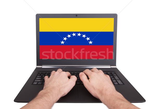 Handen werken laptop Venezuela tonen scherm Stockfoto © michaklootwijk