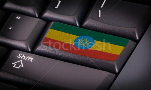 флаг клавиатура кнопки Эфиопия дизайна ноутбука Сток-фото © michaklootwijk