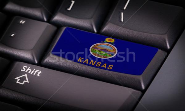 Bandeira teclado botão Kansas projeto laptop Foto stock © michaklootwijk