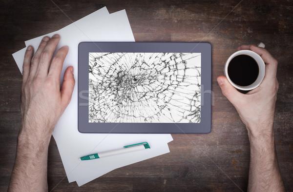 Tablet computer with broken glass Stock photo © michaklootwijk