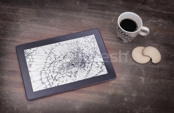 割れたガラス 画面 破壊された コンピュータ ガラス ストックフォト © michaklootwijk