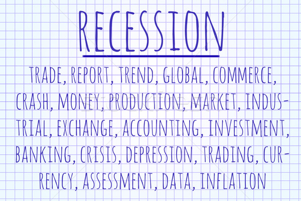 Recesszió szófelhő írott darab papír pénzügy Stock fotó © michaklootwijk