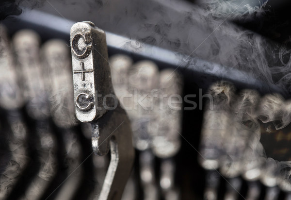 C hammer - old manual typewriter - mystery smoke Stock photo © michaklootwijk