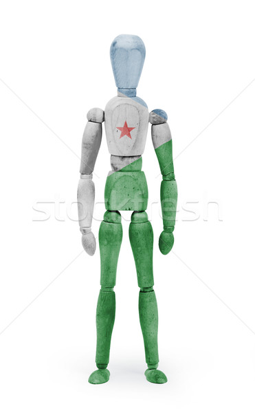 Wood figure mannequin with flag bodypaint - Djibouti Stock photo © michaklootwijk