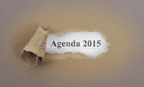 Stockfoto: Tekst · achter · gescheurd · bruin · agenda · 2015
