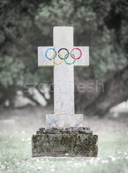 Gravestone in the cemetery - Olympic rings Stock photo © michaklootwijk