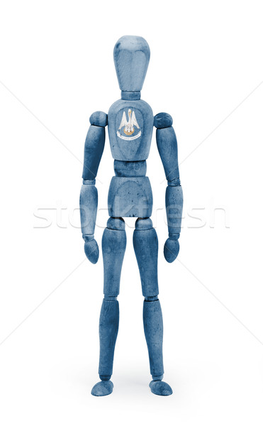 Wood figure mannequin with US state flag bodypaint - Louisiana Stock photo © michaklootwijk