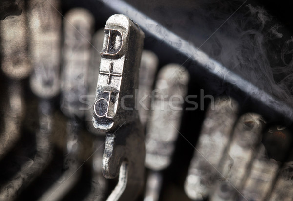 D hammer - old manual typewriter - mystery smoke Stock photo © michaklootwijk
