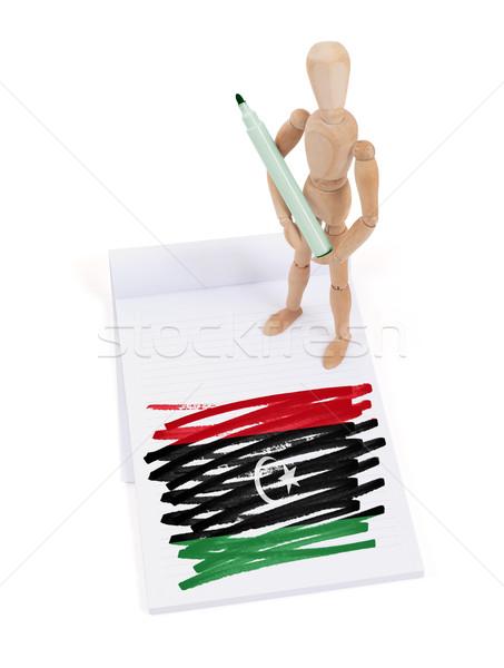 Houten etalagepop tekening Libië vlag papier Stockfoto © michaklootwijk
