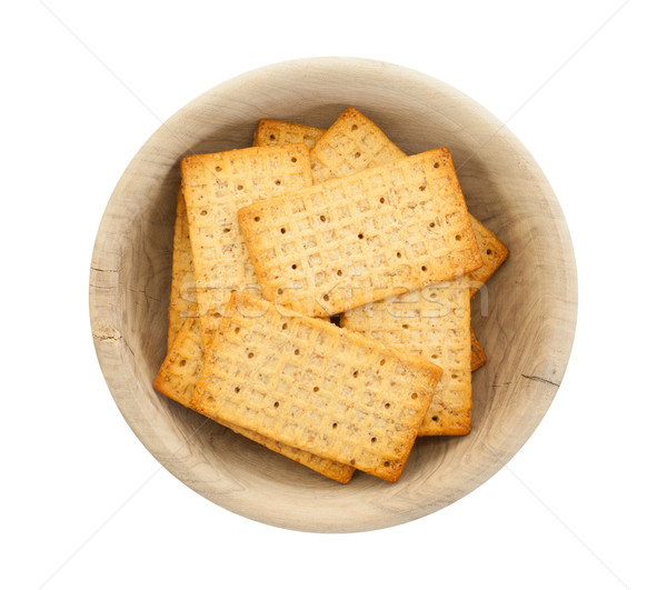Simple crackers in a wooden bowl Stock photo © michaklootwijk