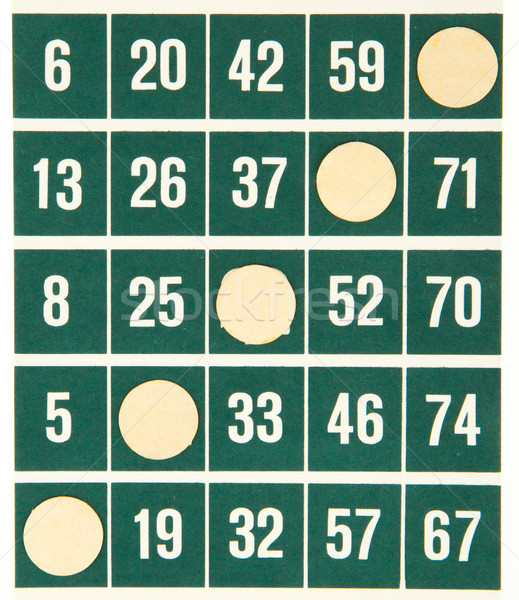 Green bingo card isolated Stock photo © michaklootwijk
