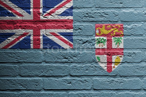Parede de tijolos pintura bandeira Fiji isolado tijolo Foto stock © michaklootwijk