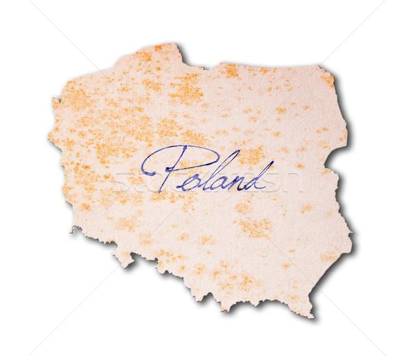 Polônia papel velho letra azul nosso viajar Foto stock © michaklootwijk