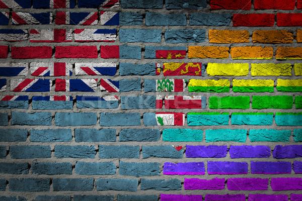 Escuro parede de tijolos direitos Fiji textura bandeira Foto stock © michaklootwijk