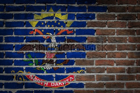 Karanlık tuğla duvar Kuzey Dakota doku bayrak Stok fotoğraf © michaklootwijk