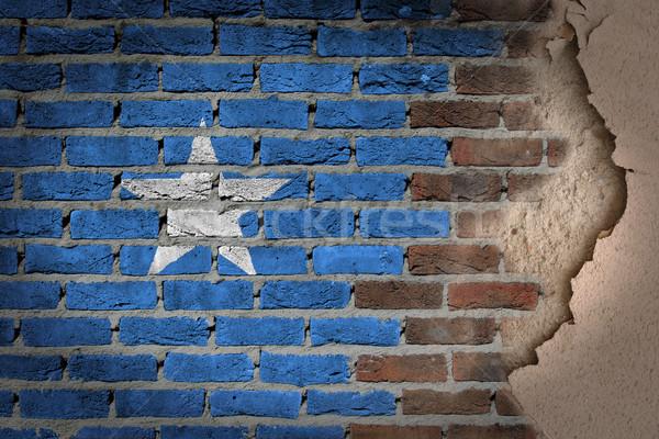 темно кирпичная стена штукатурка Сомали текстуры флаг Сток-фото © michaklootwijk