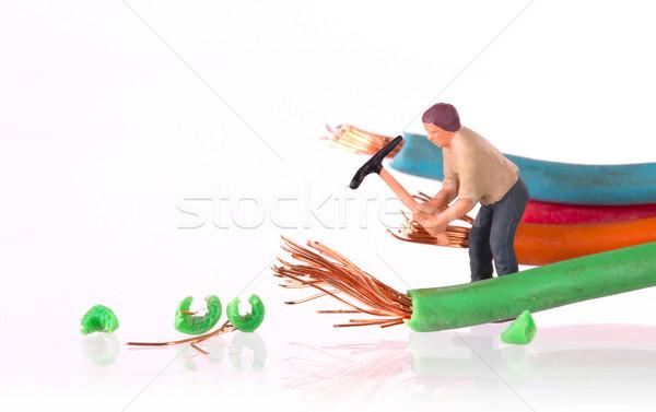 Miniatuur werknemer werknemers werken gebroken kabel Stockfoto © michaklootwijk