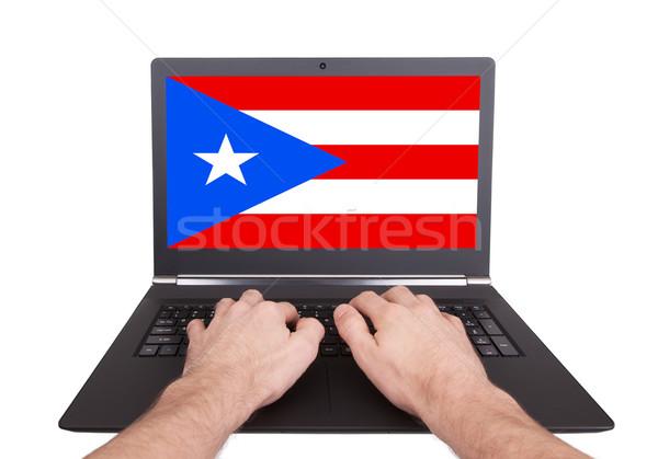 Handen werken laptop Puerto Rico tonen scherm Stockfoto © michaklootwijk