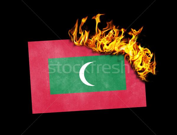 флаг сжигание Мальдивы войны кризис огня Сток-фото © michaklootwijk