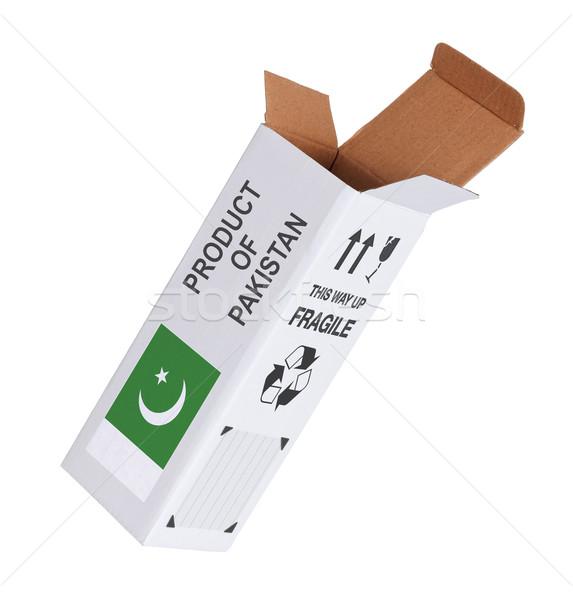 Export termék Pakisztán kinyitott papír doboz Stock fotó © michaklootwijk