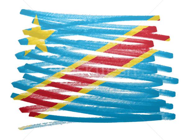 Bandera ilustración Congo pluma pintura signo Foto stock © michaklootwijk