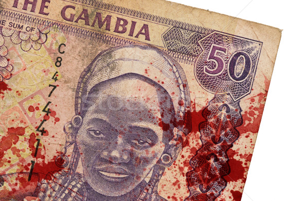 50 Gambian dalasi bank note, bloody Stock photo © michaklootwijk