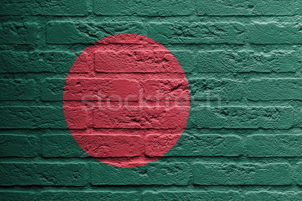 Téglafal festmény zászló Banglades izolált festék Stock fotó © michaklootwijk