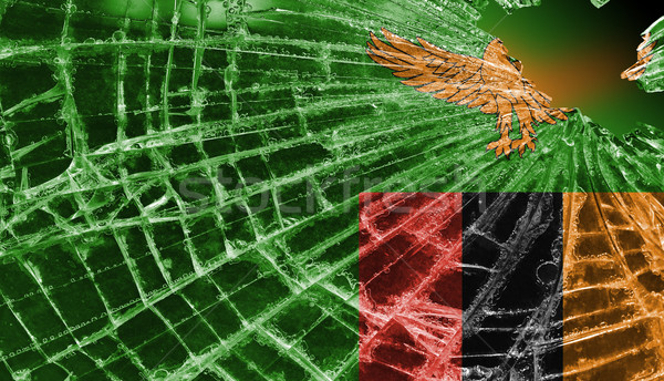 Broken ice or glass with a flag pattern, Zambia Stock photo © michaklootwijk