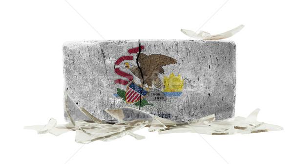 Ziegel Glasscherben Gewalt Flagge Illinois Wand Stock foto © michaklootwijk