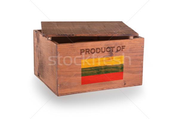 Stock fotó: Fából · készült · láda · izolált · fehér · termék · Litvánia