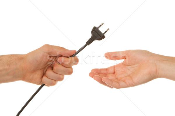 Zdjęcia stock: Człowiek · elektryczne · wtyczkę · przestrzeni · zielone · kabel