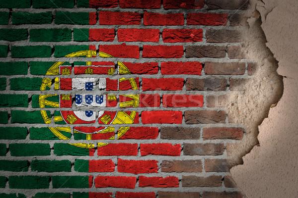 暗い レンガの壁 石膏 ポルトガル テクスチャ フラグ ストックフォト © michaklootwijk