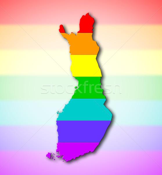 радуга флаг шаблон Финляндия карта гей Сток-фото © michaklootwijk