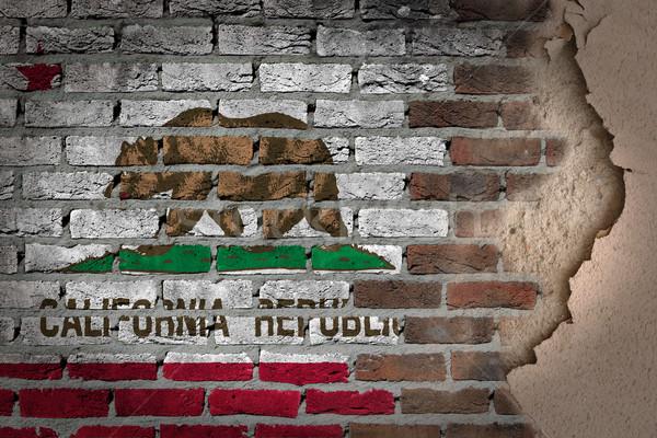 Sötét téglafal tapasz Kalifornia textúra zászló Stock fotó © michaklootwijk